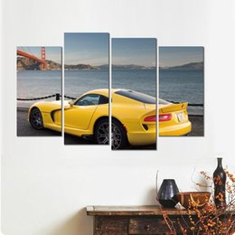 River Bridge Painting Australia - 4 sets prints poster dodge bridge river stylish car canvas arts Wall pictures for home decor