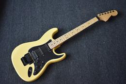 Discount customize guitar - Factory Custom Yellow Electric Guitar with Doule Rock Bridge,22 Frets,Black Hardware,Maple Fretbooard,Black Pickguard,Ca