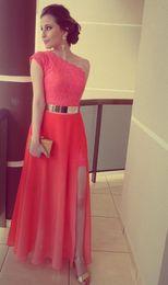 New oNe piece dress online shopping - 2019 New Dresses Coral Color Vestidos Formales Best Seller Lace One Shoulder Side Slit Gold Belt Formal Long Evening Dresses
