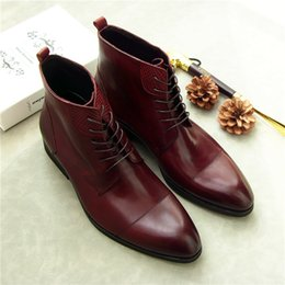 Mens shoes dress italy online shopping - Spring Autumn Mens Real Leather Martin Boots Shoes Wine Black Low Heels Lace up Winter Dress Knight Boots Italy Oxfords