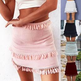 a2759b6a9ab Summer Style Skirts Sexy Fringe Skirt Women Boho Knitting Tassel Short Skirt  Holiday Beach Pink Black High Waist Mini Skirt