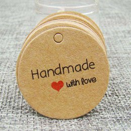 $enCountryForm.capitalKeyWord Australia - 1.18inch 1000pcs kraft print paper hand made tag with love for DIY Gift box tag candy cupcake handmade favors name brand tag