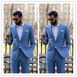 brown check suit Australia - New Custom-made Light Blue 2 Pieces Men Suits (Jacket + Pants) Slim Fit Groom Prom Tuxedo Summer Style Blazer for Men