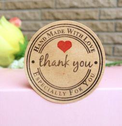 "$enCountryForm.capitalKeyWord Australia - 1000PCS lot New Retro Kawaii HANDMADE ""Thank you""Round Kraft Seal sticker For handmade products Vintage ""Handmade with Love""Label"