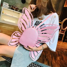 pink leather backpack purse NZ - Cute Butterfly Backpacks Women Transparent Pu Leather Pink Schoolbags Teen Girls Travel Backpack Women Butterfly Bookbags Purses