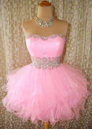 Discount cocktail dress sample New Arrival Short Mini Pink Prom Gowns Crystal Cocktail Dresses Sequined Beaded Party Ruffled Short Homecoming Dresses Real Sample Q114