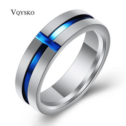 Discount stainless steel blue crosses - Classic Biblical Blue Cross Ring 316L Titanium Steel Jewelry Cool women Men's Rings