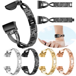 rhinestone bands for watch UK - Watch Band for Fitbit Charge 3 Bands Replacement Stainless Steel Metal Wrist Strap Bling Rhinestone Bracelet for Fitbit Charge 3