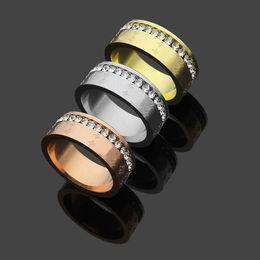 Wedding Ring Gold 18k Diamond Australia - New Arrival Fashion Lady 316L Titanium steel Embossing Single Circle Diamond Wedding Engagement 18K Gold Plated Narrow Rings Size6-9