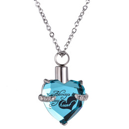 $enCountryForm.capitalKeyWord Australia - Always in my heart Locket screw Heart Necklace for women luxury jewelry keepsake pendant cremation memorial ashes urn birthstone necklace