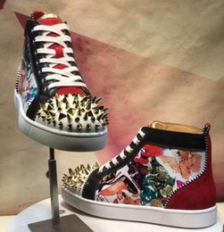 $enCountryForm.capitalKeyWord Australia - 2019 red bottoms designer shoes men women fashion rivet glitter sneakers for party wedding Genuine Leather studded shoes size 36-46