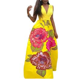 577467190 Vestido sexy amarillo de las mujeres Estampado de flores de cuello en V  profundo Maxi vestido informal sin mangas Fiesta de verano Vestidos