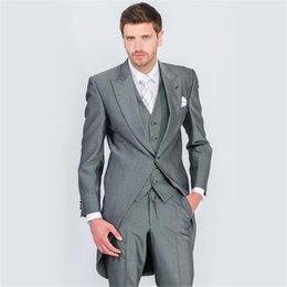 Trouser Waistcoat Grey 3 Piece Wedding Suit Tails Morning Suit Tailcoat Jacket