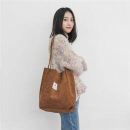 $enCountryForm.capitalKeyWord Australia - Canvas Solid Shoulder Bag Top-Handle Corduroy College Style All-match Crossbody Tote Bags Casual For Women Girl Hand Bag Handbag #34609