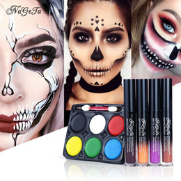 lips orange Australia - Halloween Gift Paint Makeup Set Masquerade Carnival Unisex Stage Makeup Party Set Halloween Lip Gloss Ghost Eye Shadow Horror Multicolor