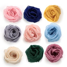 Solid Color Scarves Wholesale Australia - Women Girl Solid Color Soft Chiffon Silk Square Scarf Wrap Shawl Elegant Neckerchief Retro Head Neck Hair Tie Band 36 Styles