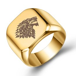 Mens Cluster Rings Australia - 4 Colors 2019 New Designer Stainless Steel Gold Silver Wolf Head Mens Finger Ring Band Personalized Punk Jewelry Lovers Gifts for Boyfriend
