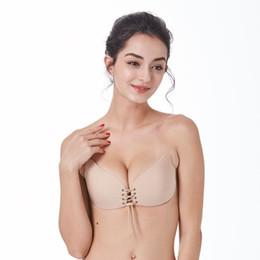 $enCountryForm.capitalKeyWord Australia - Strapless Women Bra Self Adhesive Invisible Bandage Silicone Super Sticky Seamless Push Up Bra D E F Cup Solid Women's Underwear