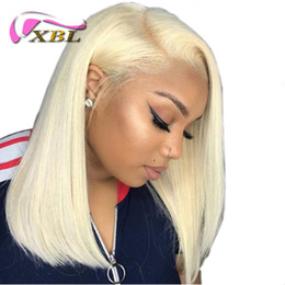 indian women blonde hair 2019 - XBLHair wigs for women 613 blonde Lace Front Wigs Natural Straight Brazilian Human Hair Short Bob Wig Lace Frontal Wigs