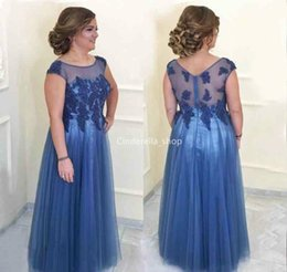 Line navy bLue mother bride dress online shopping - Elegant Mother Of The Bride Dresses Sheer Scoop Lace Appliques Beaded Zipper Back A Line Wedding Party Gowns For the Mother