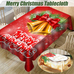 red party tablecloth Australia - Red Gold Merry Christmas Table Cover Waterproof Christmas Bell Red Kitchen Tablecloth Party Home Decoration Dining Table Cloth
