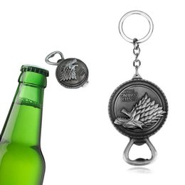 $enCountryForm.capitalKeyWord Australia - Game Of Throne keychain Song of Ice And Fire Keychains Bottle Opener Metal Stark Family Wolf Key Ring Beer Openers Kitchen Accessories M033F