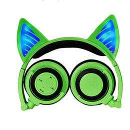 Cuffie auricolari Cat Bluetooth lampeggiante incandescente Cosplay auricolare da gioco pieghevole over-ear per iPhone PC Laptop Computer Stock negli Stati Uniti on Sale