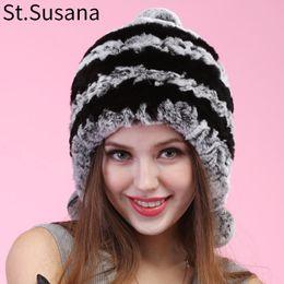 c2754dec838 St.Susana 2018 autumn winter Super warm winter women genuine rex rabbit fur  ear muffs Rex Rabbit cap lady fur hat Item No. 2294 D19011503
