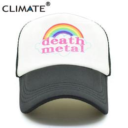 metal letter hats 2019 - CLIMATE Death Metal Rock Trucker Cap Rock Summer Cap Metal Fans Cool Mesh Baseball Men Rainbow Trucker Caps Dad Hat Men