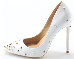 Wholesale New Genuine Leather heels Shoes Pointed Toe Women Pumps Rivet Studded For Wedding Party Dress Stiletto Woman Size high cm