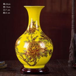 Wholesale crystal glaze furnishing articles porcelain flower arranging floret bottle of new Chinese style modern home decoration