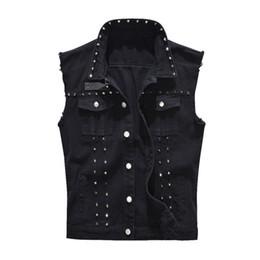 Wholesale black hole vests resale online - Mens Vest Vintage Denim Jeans Vest Male Fashion Black Sleeveless Jackets Waistcoat Men Spring Autumn Rivet Hole Jeans Waistcoats