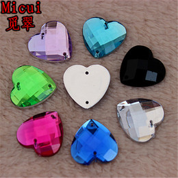 Sew Rhinestones For Clothes Australia - Micui 100pcs 16mm Sewing Heart Shape Rhinestone Flatback Strass Sew On Acrylic Crystal Stones For Clothes Dress Crafts ZZ121