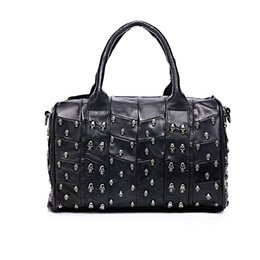 $enCountryForm.capitalKeyWord Australia - High Quality Tote Purse for Women,Vintage Genuine Leather Handbag Designer Luxury Skull Studded Shoulder Bag (Black)