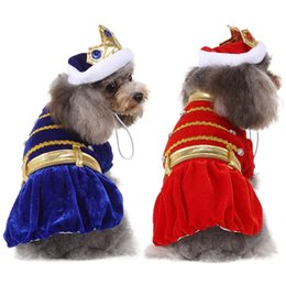 blue hair costumes Australia - Pet Halloween Cosplay Costume Funny Princes Outfits Set 2-legged Coat And Hat For Dogs, Red   Blue Dog Apparel