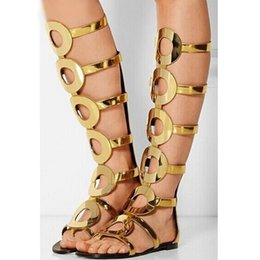 cage heels 2020 - Sexy Gold Circle Flat Sandals Cut-out Gladiator Knee High Boots Peep Toe Back Zipper Cage Shoes Metal Decoration Summer