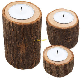 wholesale indoor flower pots UK - free shipping Candle Stand Set Creative Wooden Bark Candlestick Indoor Flower Pot Home Decoration Ornament Small Size