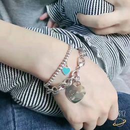 $enCountryForm.capitalKeyWord Australia - Women's Luxury Heart-shaped Pendant Bead Chain Bracelets 925 Sterling Silver Chain Fashion Valentine's Day gift Jewelry Bracelet