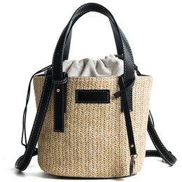 $enCountryForm.capitalKeyWord UK - Hand Woven Beach Bag Canvas Totes Straw Bucket Summer Bags Women Lady Handle Handbag Knitting Strap Shoulder Cross body bags 2 colors