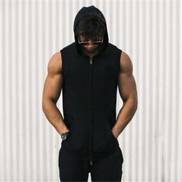 $enCountryForm.capitalKeyWord NZ - Mens Sleeveless Hoodies Cool Summer Zipper Sweatshirts 2017 New Fashion Cotton Muscle Plain Colors Hooded Street Wear Clothes