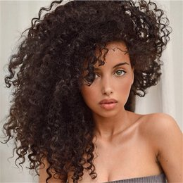 kinky cap wig NZ - Brazilian human hairStyle supplier 100% unprocessed remy virgin human hair natural color kinky curly full lace cap wig no shedding for women