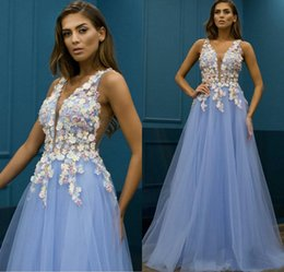 robes soire NZ - Fashion Light Blue A-Line Prom Dresses V-Neck 3D Floral Appliqued Floor-Length Evening Gowns Custom Made Formal Party Dress Robe De Soire
