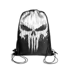 Dye Packs Australia - Drawstring Sports Backpack 3d punisher skull cute convenient Yoga Travel Fabric Backpack