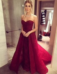 Orange chic online shopping - 2019 Chic Beaded Lace Burgundy Prom Dresses with Overskirts Sweetheart Neck Formal Party Gowns Backless Long Evening Dress Celebrity Pageant