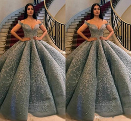 Deep v grey Dress online shopping - 2019 Fashion Corset Grey Prom Dresses Long Off Shoulder Lace Appliques Beaded Formal Party Gowns Ball Gown Evening Dresses Plus Size