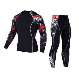Long Sleeves Compression T Shirts Australia - mma rashguard Long sleeves fitness t-shirt man compression set T-shirt men's tights union suit thermal underwear S-XXXL-XXXXL