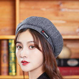 783d6323a77 Autumn And Winter Fund Fashion Stripe Embroidered Beret Bounet Ma am Winter  Hat Woman Korean Outdoors Student Hats