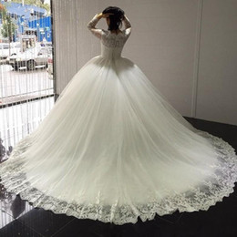 formal wedding gowns Australia - Princess Lace Ball Gown Wedding Dresses Plus Size Long Sleeve Appliques Fluffy Tulle Elegant Formal Bridal Gowns 2019