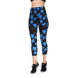 Rose Marks UK - JIGERJOGER 2018 spring summer Mid High rise Printed Capris With Mesh Insets Crops Running Printed Capris Yoga shorts Leggings #301209