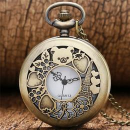 Watches eiffel toWer online shopping - Bronze Cute Hollow Rilakkuma Paris Eiffel Tower Pattern Vinatge Pocket Watch with Necklace Chain Quartz Movement Reloj De Bolsillo